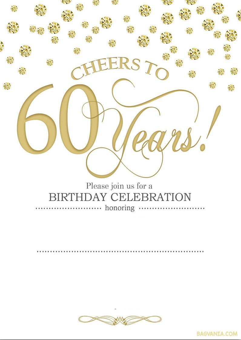 Free Printable 60Th Birthday | Kellies 50Th Bday Ideas | 60Th - Free Printable Invitations Templates