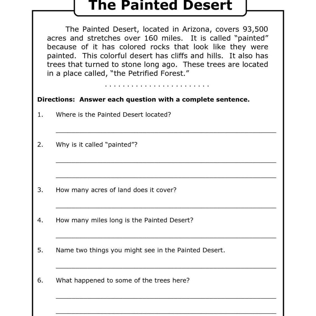 Free Printable 7Th Grade Reading Comprehension Worksheets Grade 3 - Free Printable Comprehension Worksheets For Grade 5