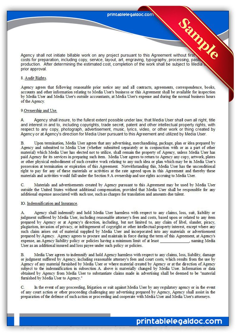 Free Printable Ad Or Media Agency Agreement   Sample Printable Legal - Free Printable College Degrees