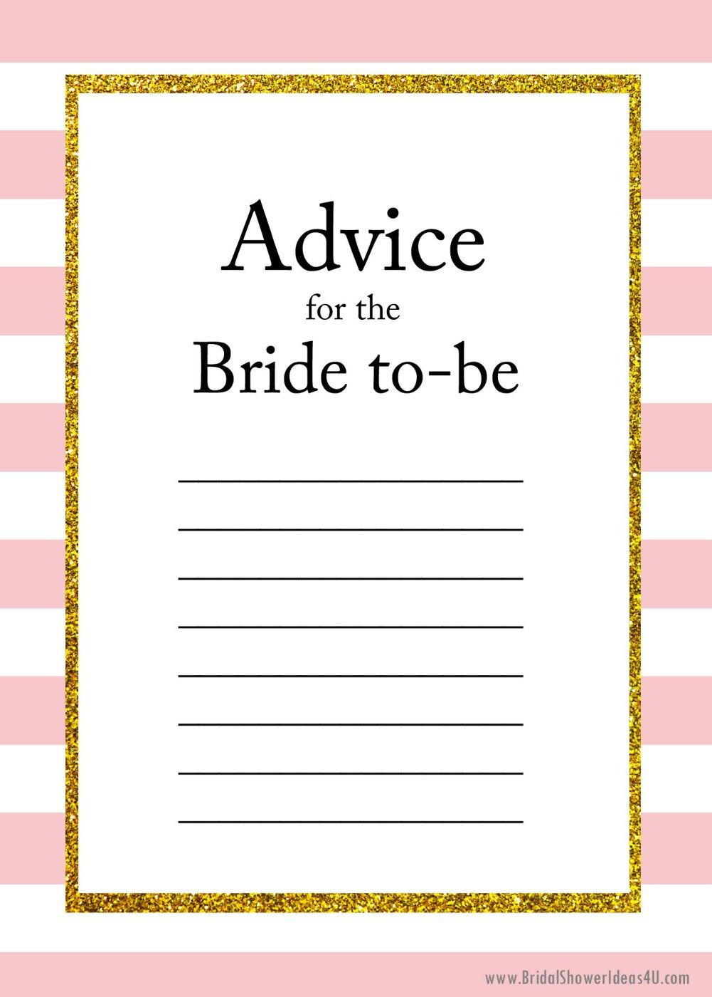 Free Printable Advice For The Bride To Be Cards | Friendship - Free Printable Bridal Shower Advice Cards