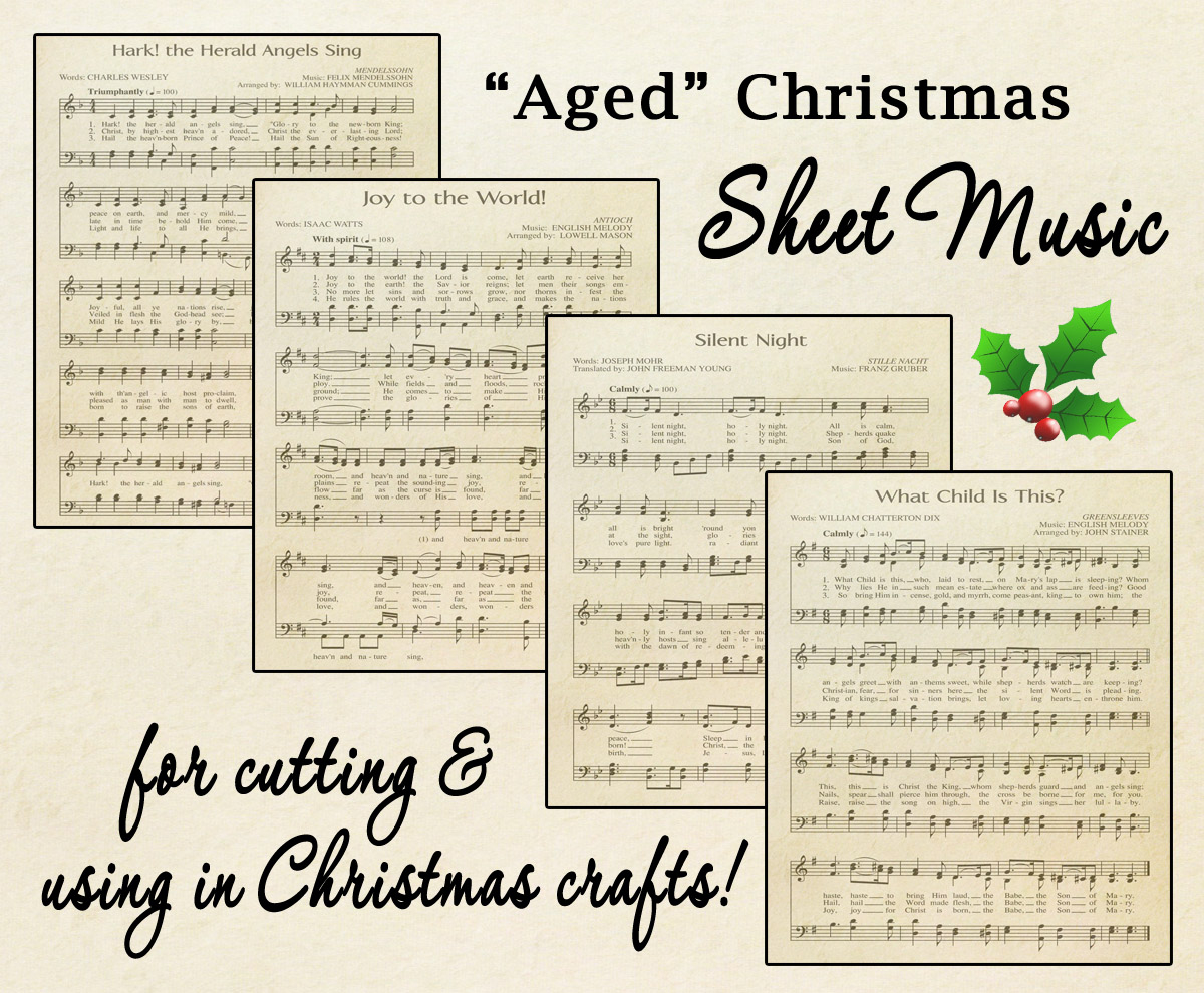 "Free Printable ""Aged"" Music Sheets   Celebrating Holidays - Free Printable Christmas Carols Booklet"