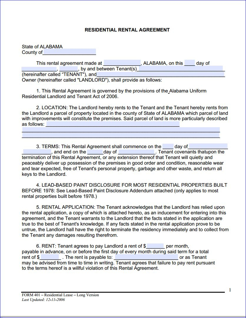 Free Printable Alabama Month To Month Rental Agreement - Printable - Free Printable Rental Agreement