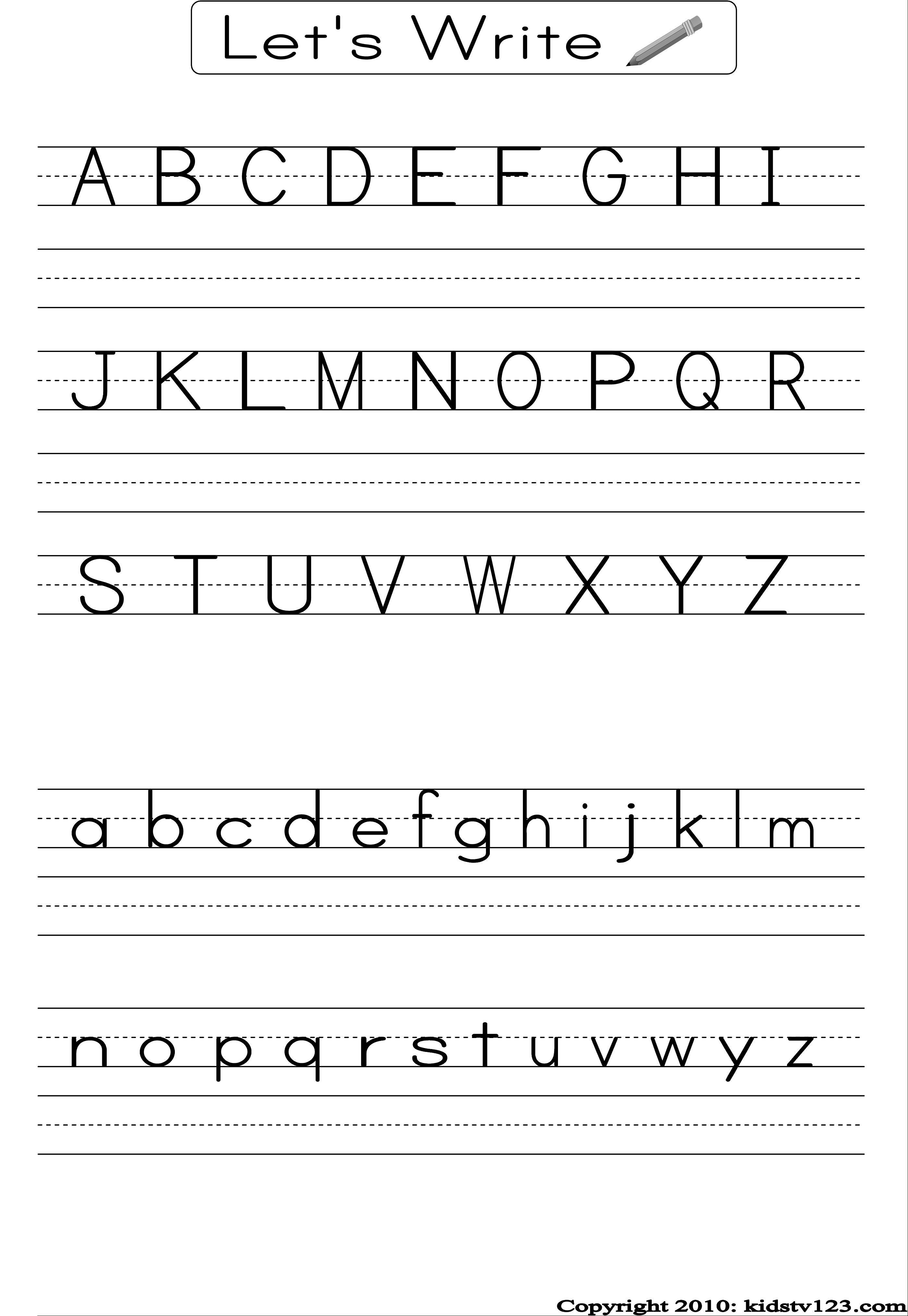 Free Printable Alphabet Worksheets, Preschool Writing And Pattern - Free Printable Alphabet Worksheets