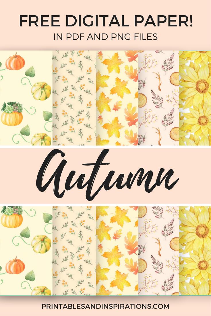 Free Printable Autumn Digital Paper (Seamless Pattern | Free - Free Printable Autumn Paper