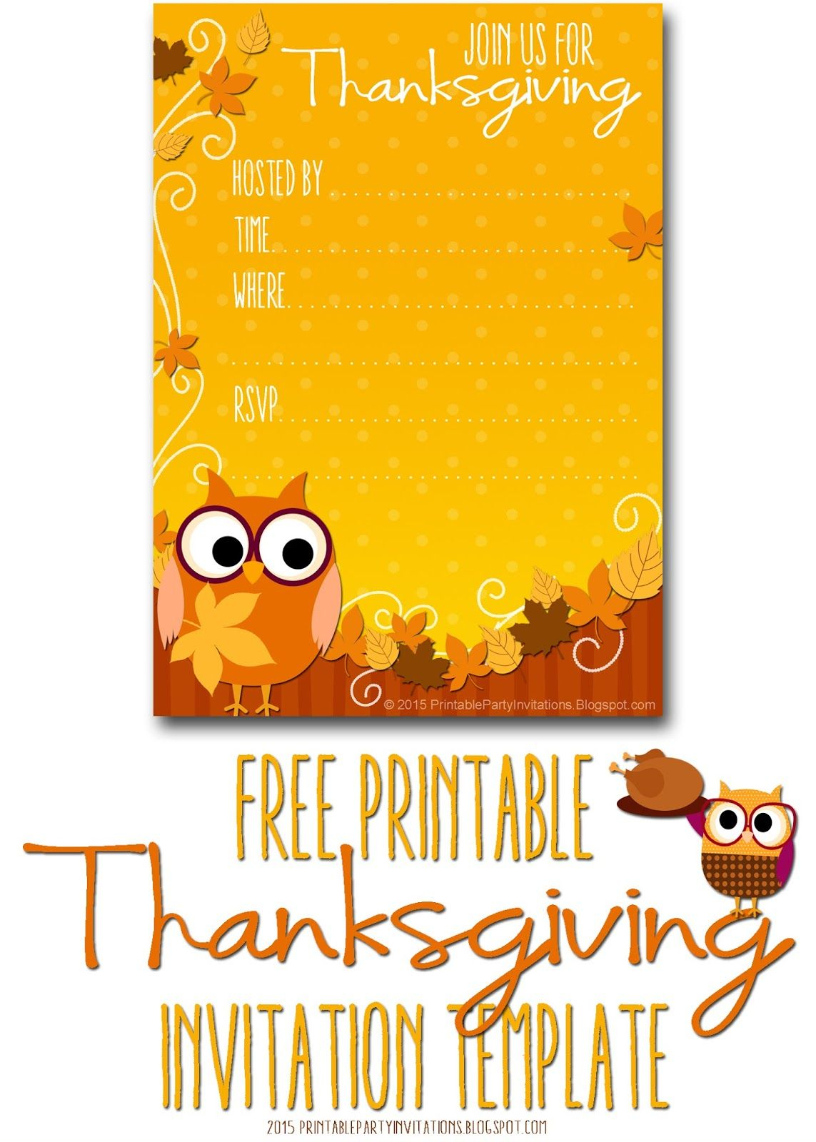 Free Printable Autumn Owl Thanksgiving Invitation Template | Party - Free Printable Thanksgiving Dinner Invitation Templates