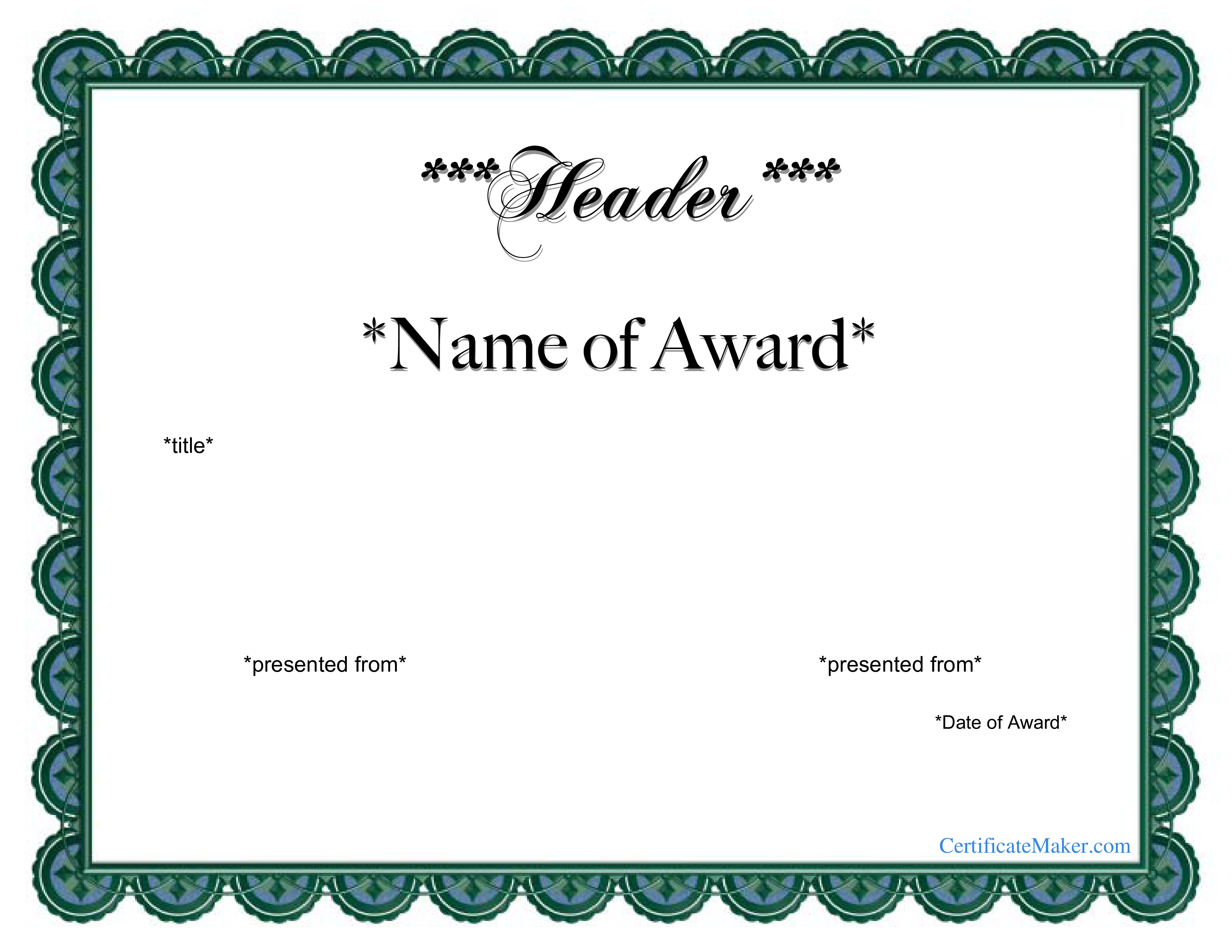 Free Printable Award Certificate | Templates At Allbusinesstemplates - Free Printable Certificate Templates