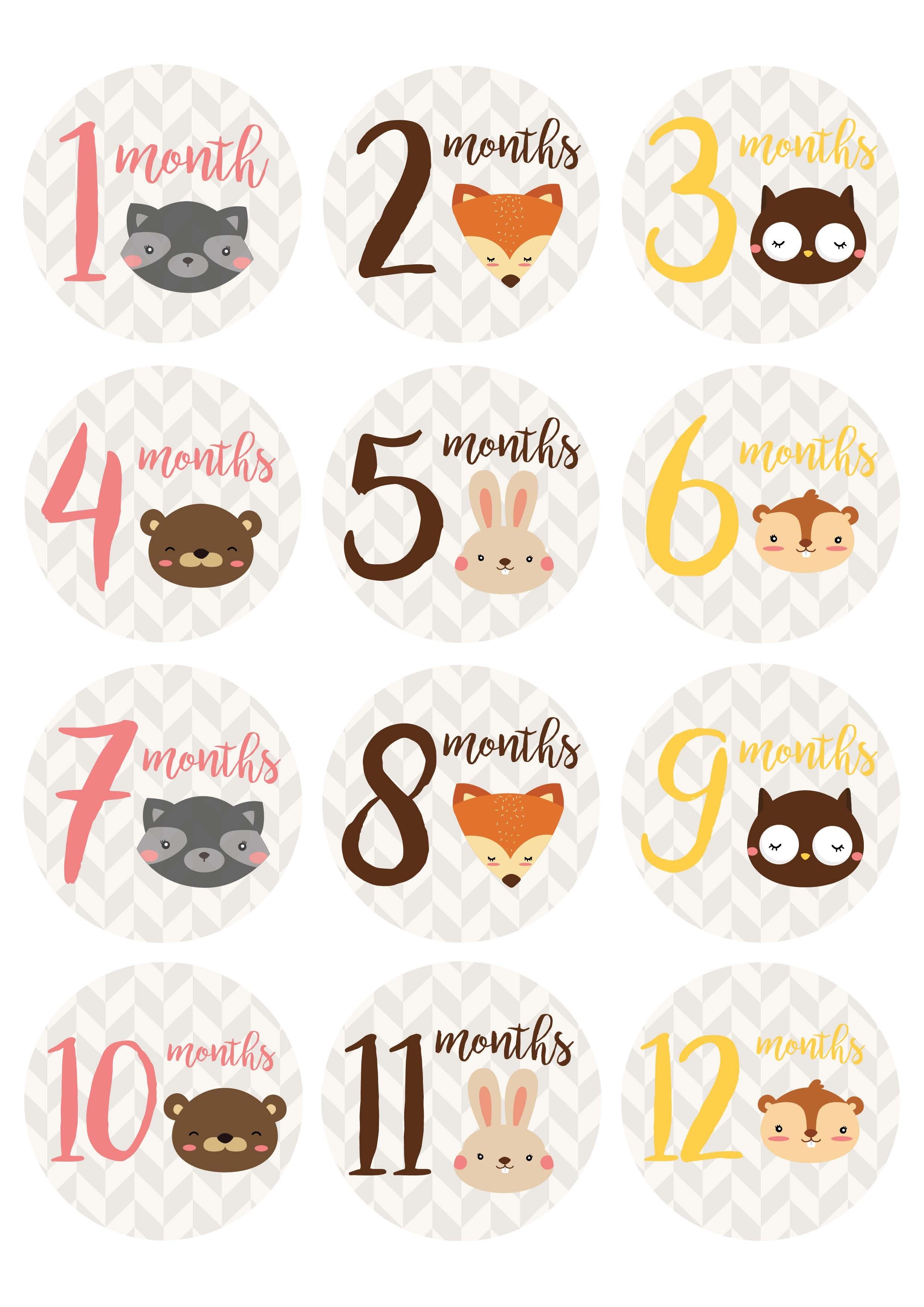 Free* Printable Baby Milestone Stickers From Countryside Amish - Free Printable Baby Month Stickers