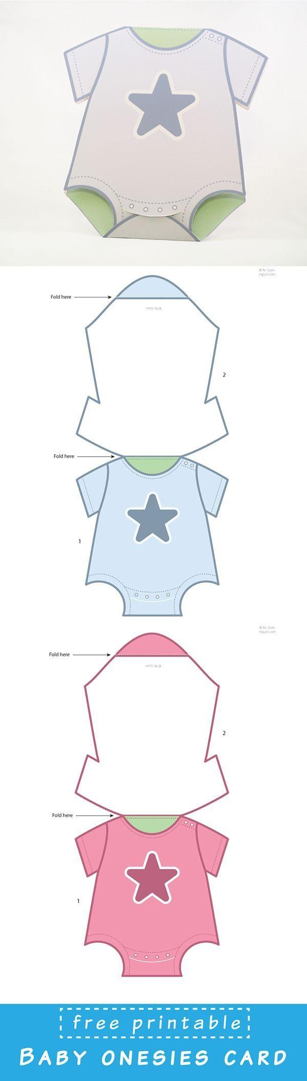Free Printable Baby Onesies Card Template. Just Dowload And Assemble - Free Printable Onesie Pattern