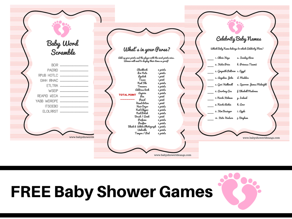 Free Printable Baby Shower Games Baby Word Scramble Baby Celebrity - Free Printable Baby Shower Game What's In Your Purse