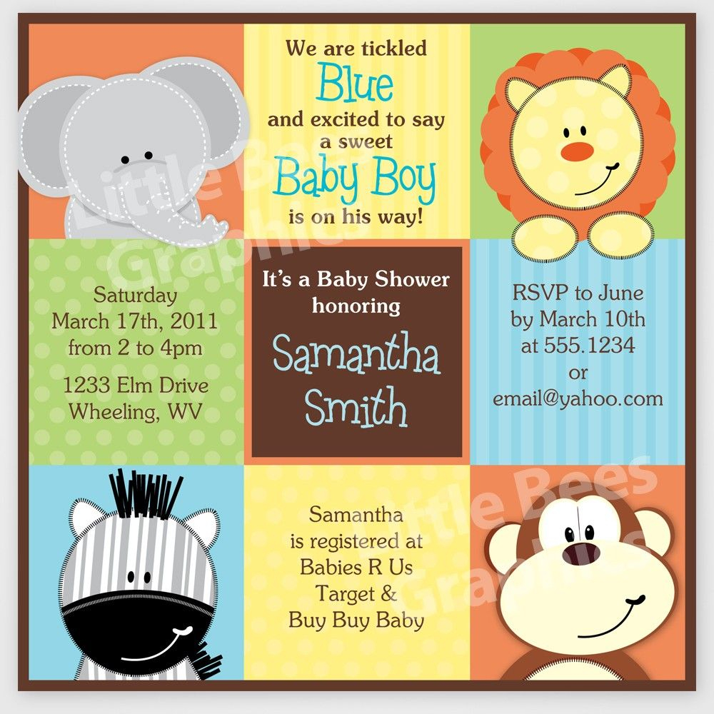 Free Printable Baby Shower Invitations | Stylish Jungle Animals - Free Printable Jungle Safari Baby Shower Invitations