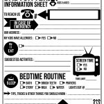 Free Printable Babysitter Info Sheet. Frame Or Laminate And Use A   Free Printable Parent Information Sheet