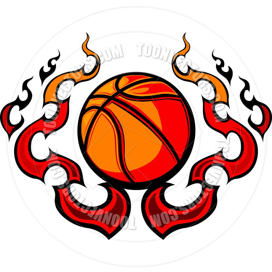 Free Printable Basketball Clip Art | Basketball Template With Flames - Free Printable Basketball Court