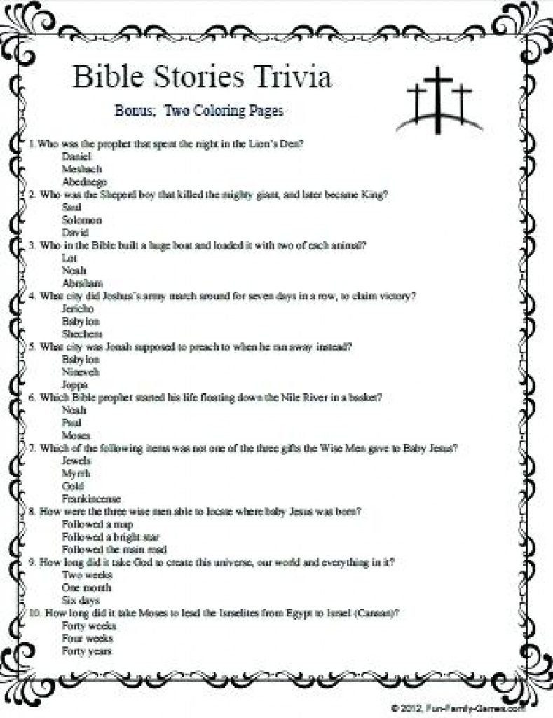 Free Printable Bible Trivia Questions And Answers | Free Printable - Free Printable Bible Trivia Questions And Answers