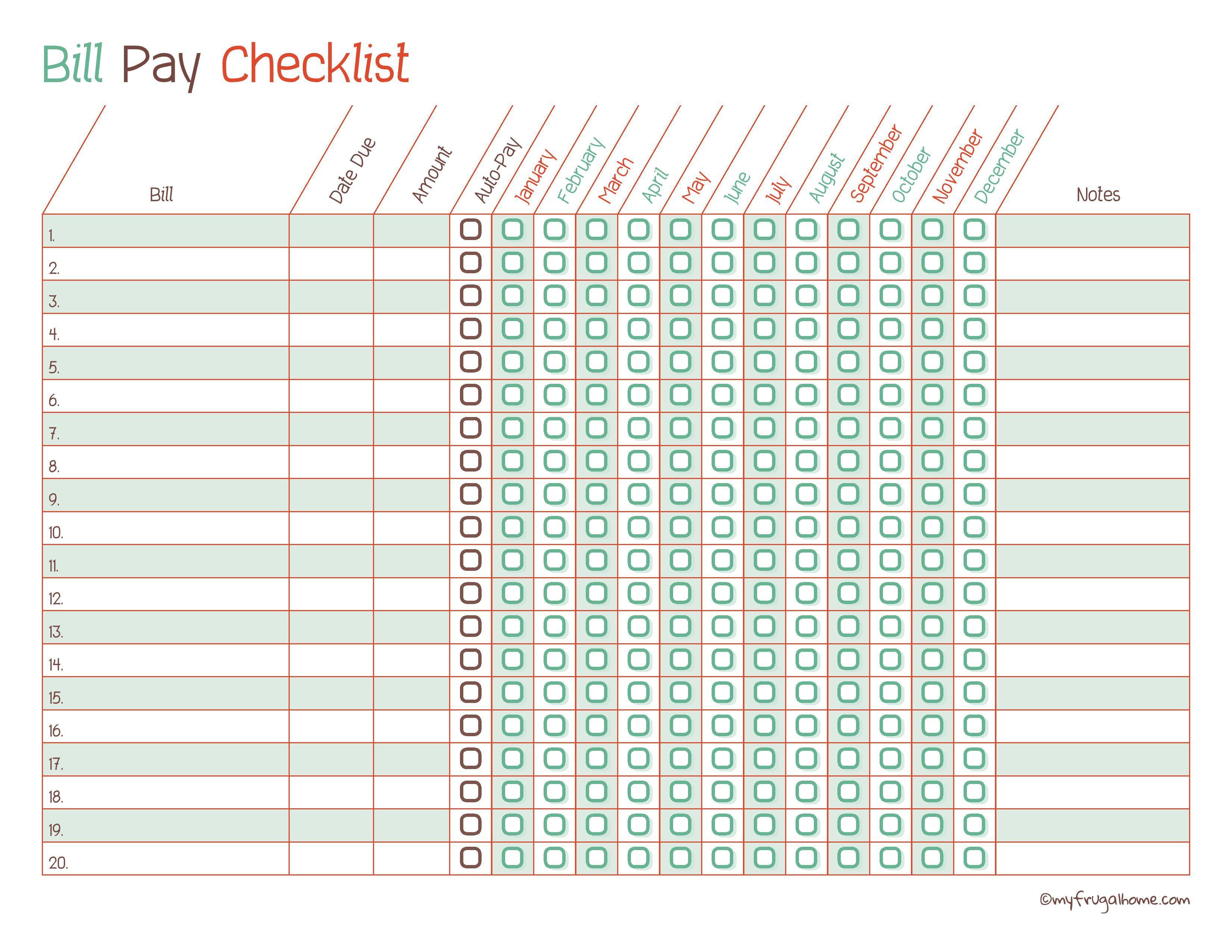 Free Printable Bill Pay Calendar Templates - Free Printable Bill Tracker