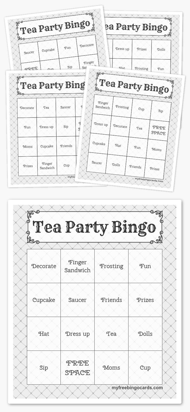 Free Printable Bingo Cards In 2019   Printables   Pinterest   Harry - Free Printable Tea Party Games