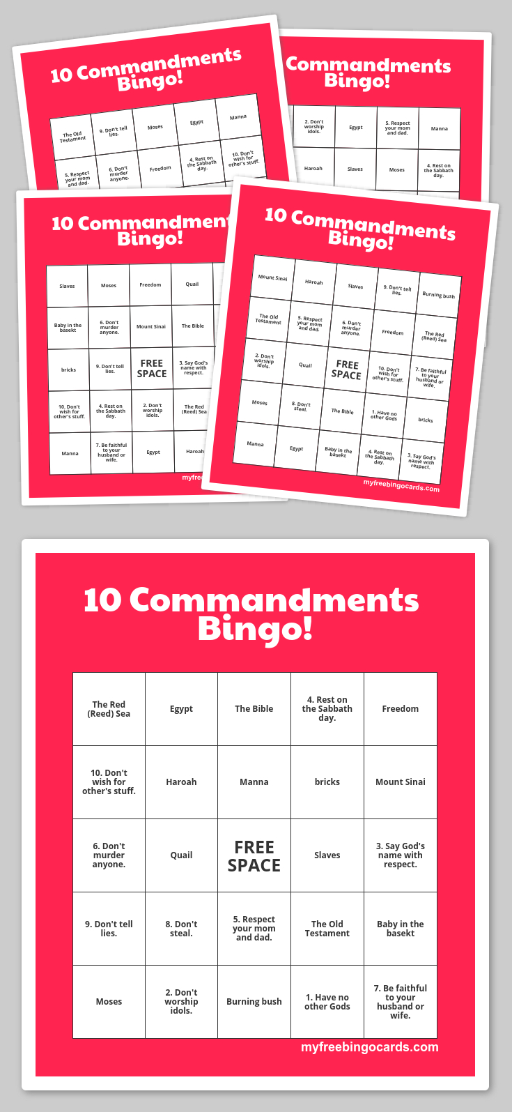 Free Printable Bingo Cards | The 10 Commandments | Sunday School - Free Printable Bible Bingo For Preschoolers