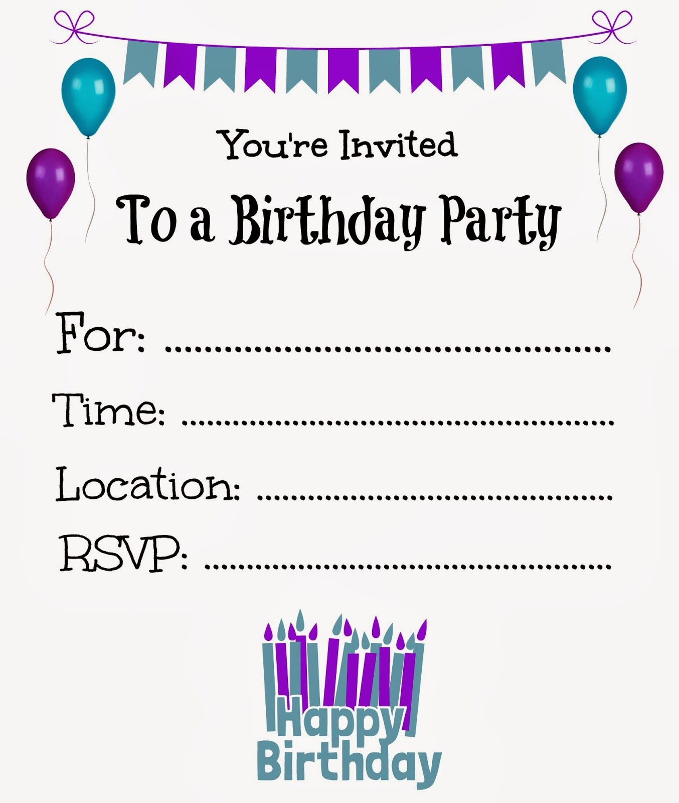 Free Printable Birthday Invitations For Kids #freeprintables - Free Printable Birthday Invitation Cards Templates