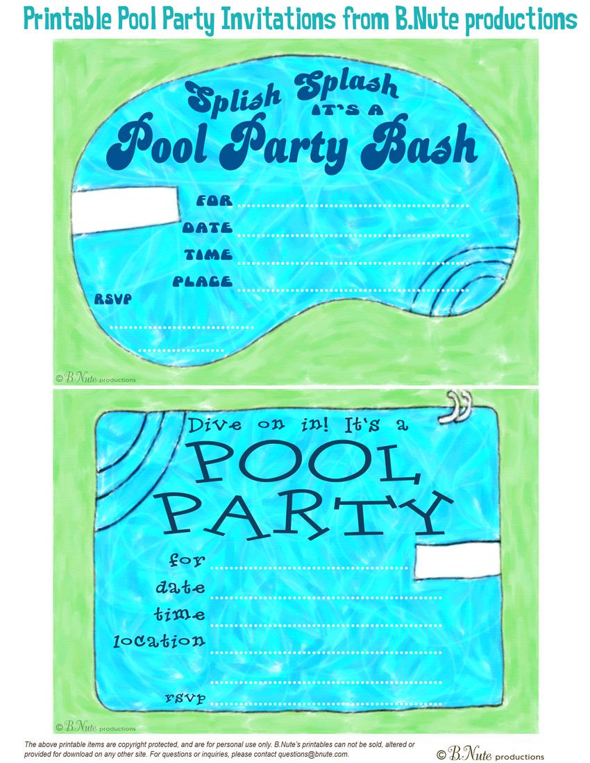 Free Printable Birthday Pool Party Invitations — Birthday Invitation - Free Printable Pool Party Birthday Invitations
