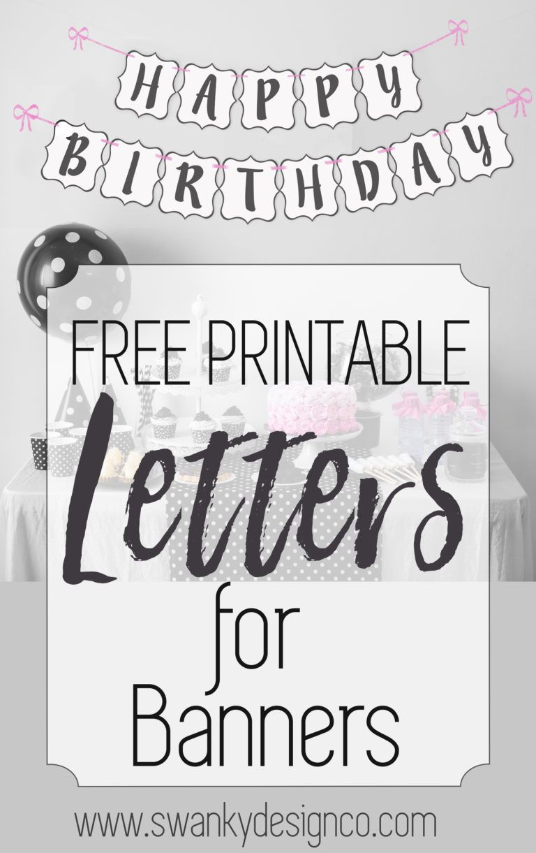 Free Printable Black And White Banner Letters   Diy Banners - Free Happy Birthday Printable Letters
