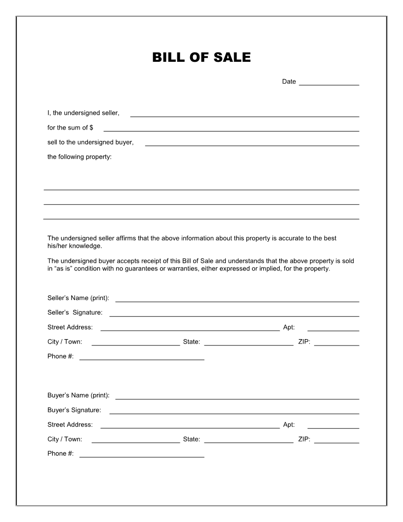 Free Printable Blank Bill Of Sale Form Template - As Is Bill Of Sale - Free Printable Bill Of Sale For Car