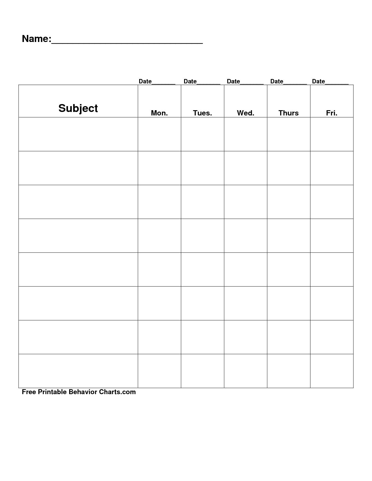 Free Printable Blank Charts | Free Printable Behavior Charts Com - Charts Free Printable