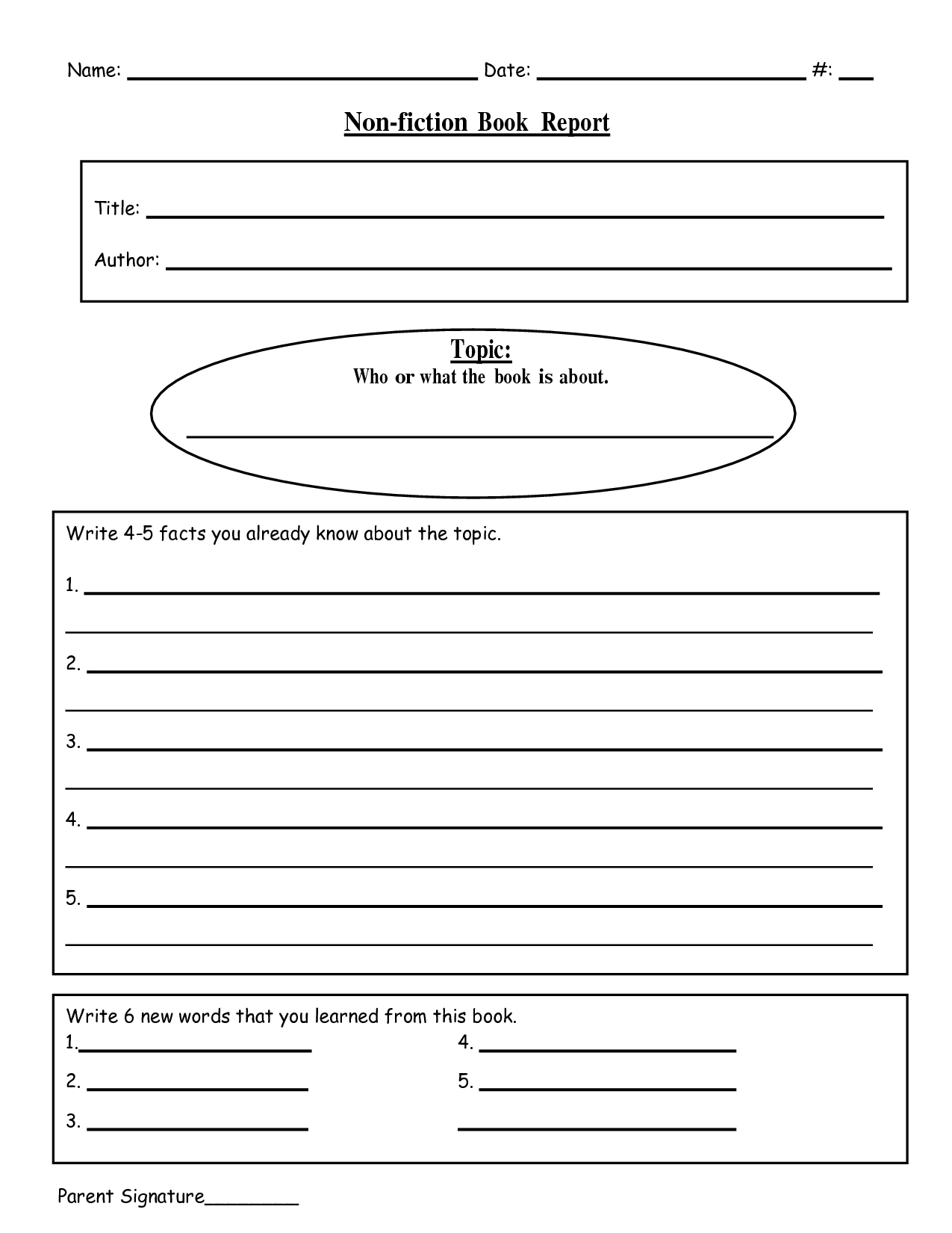Free Printable Book Report Templates | Non-Fiction Book Report.doc - Free Printable Story Books For Grade 2