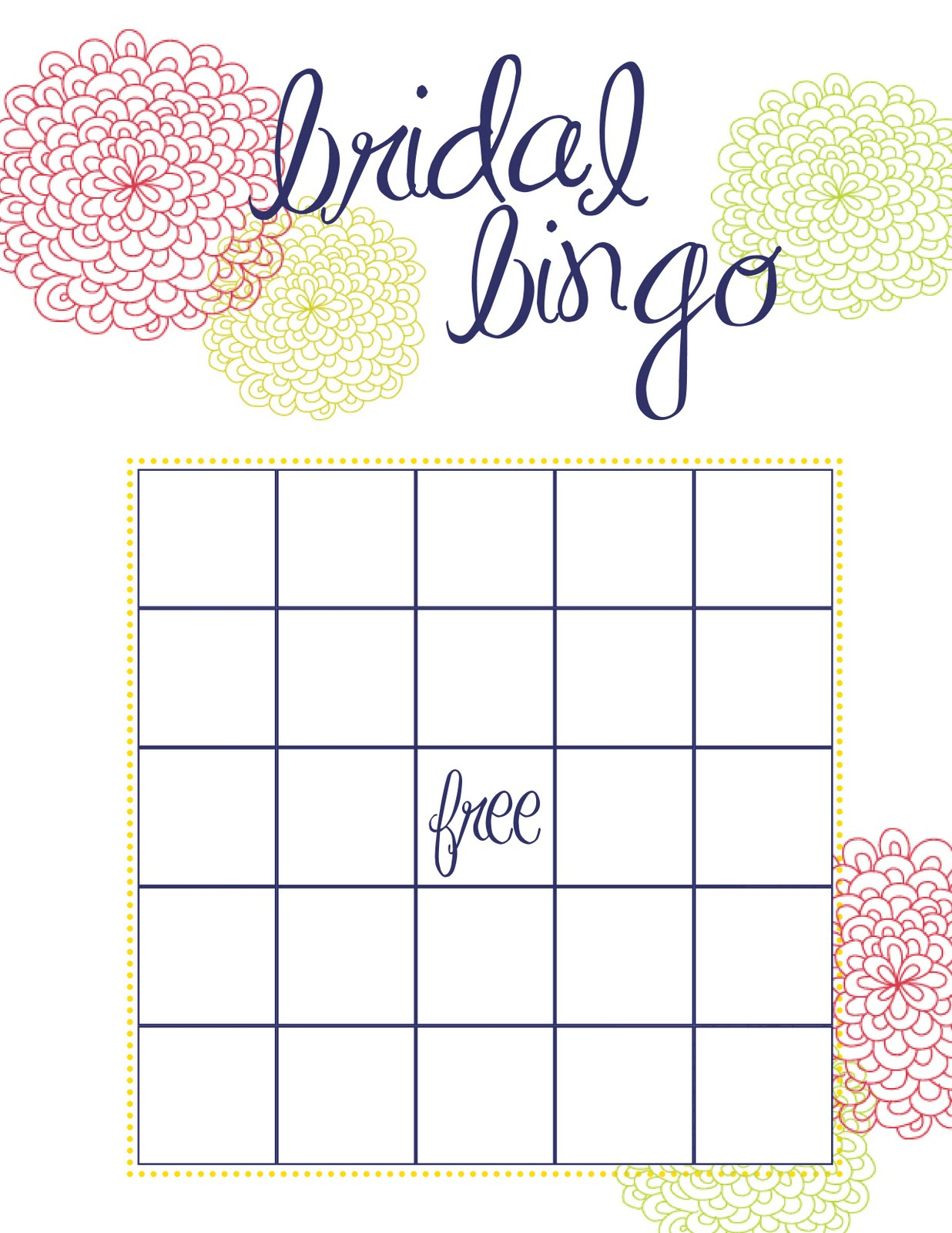 Free Printable Bridal Shower Bingo - Image Cabinets And Shower - Free Printable Bridal Shower Bingo