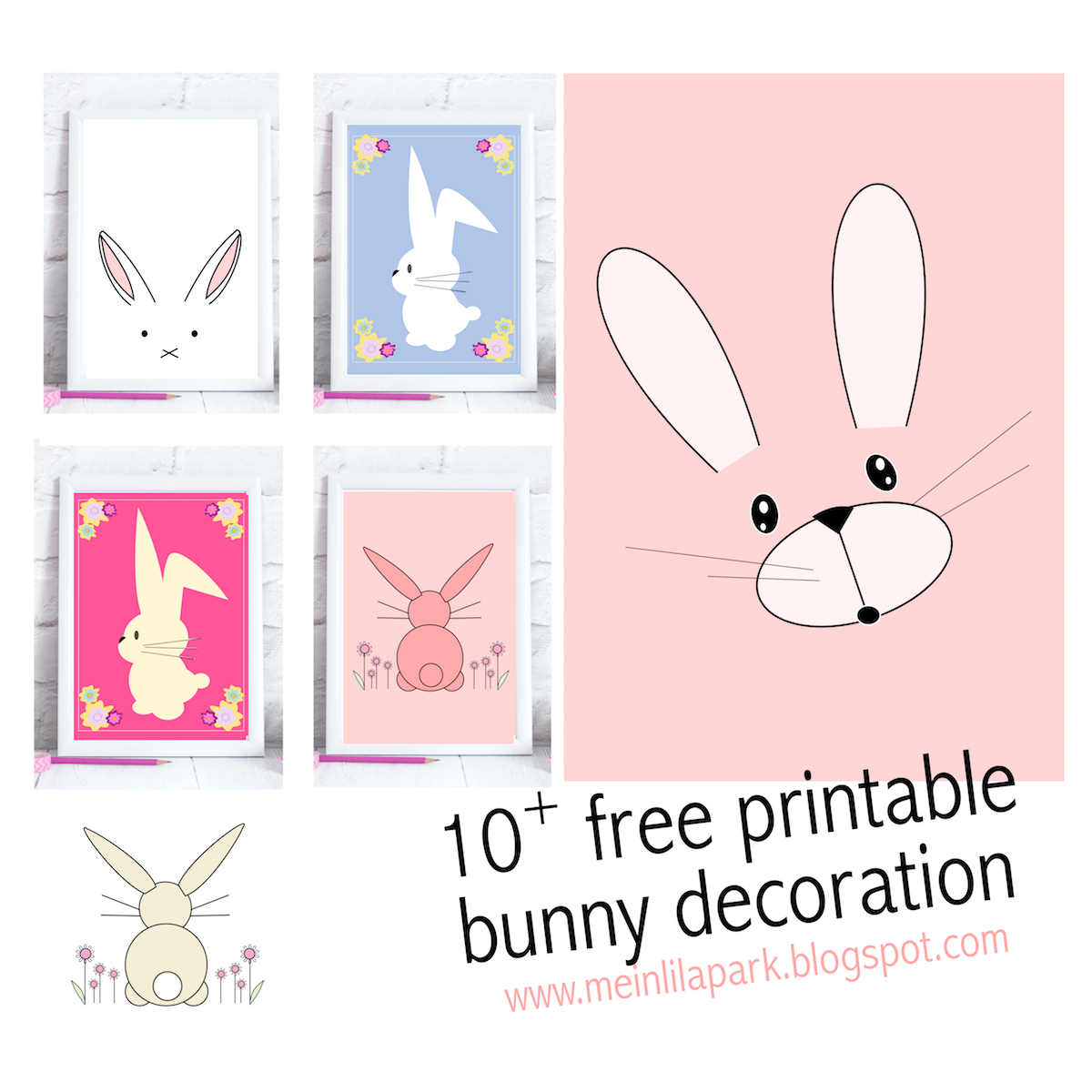 Free Printable Bunny Nursery Decoration - Round Up | Meinlilapark - Free Printable Bunny Pictures