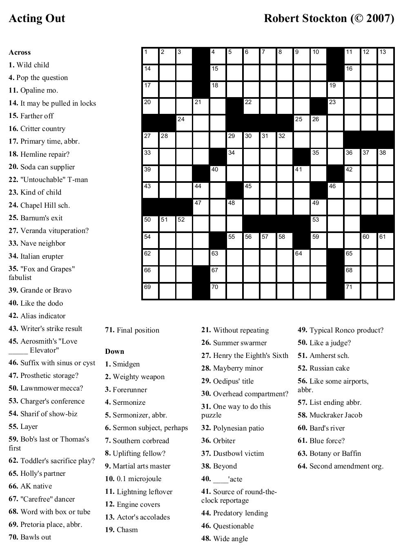 Free Printable Cards: Free Printable Crossword Puzzles   Free - Free Printable Large Print Crossword Puzzles