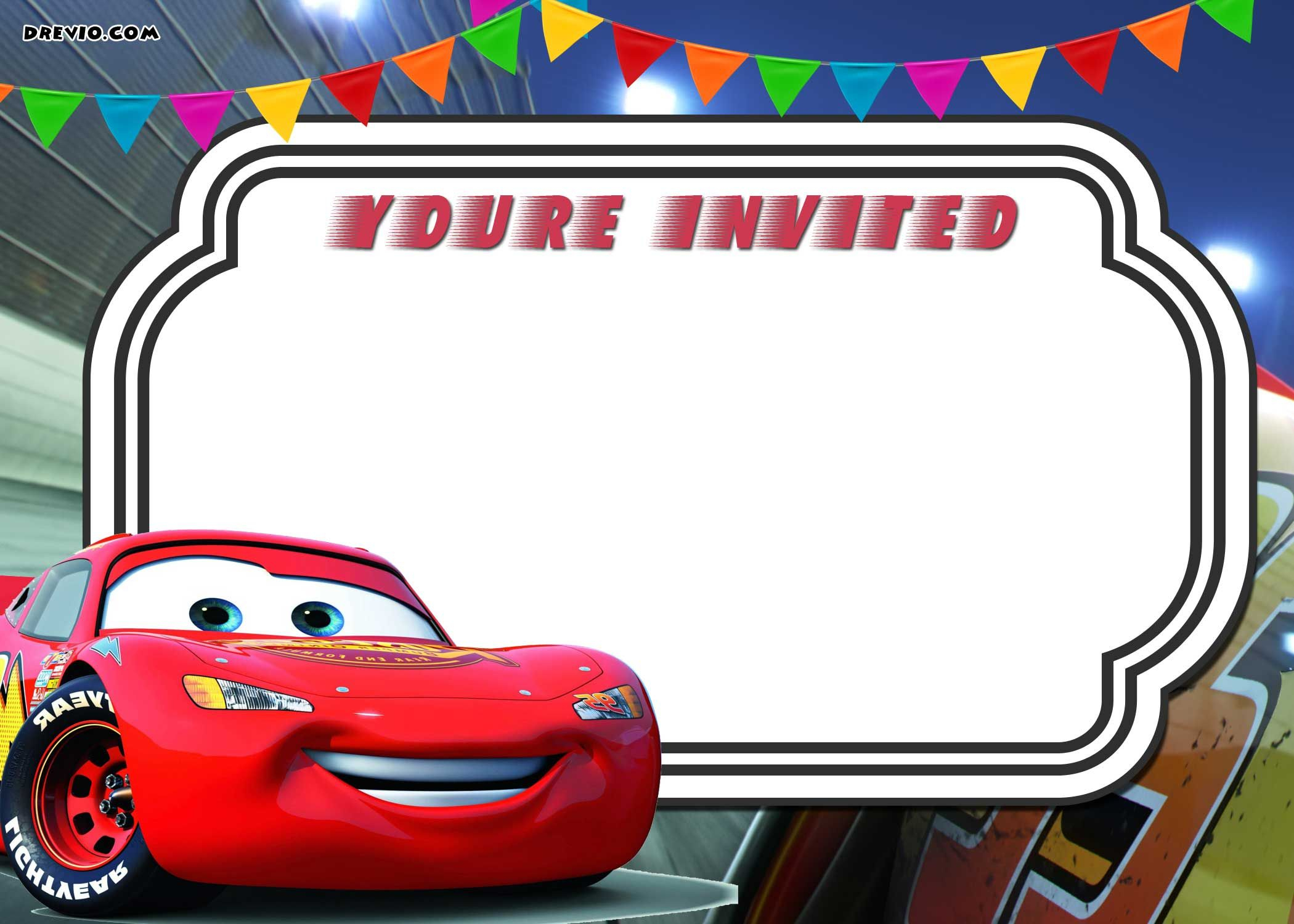 Free Printable Cars 3 Lightning Mcqueen Invitation | Go | Free - Free Printable Car Template