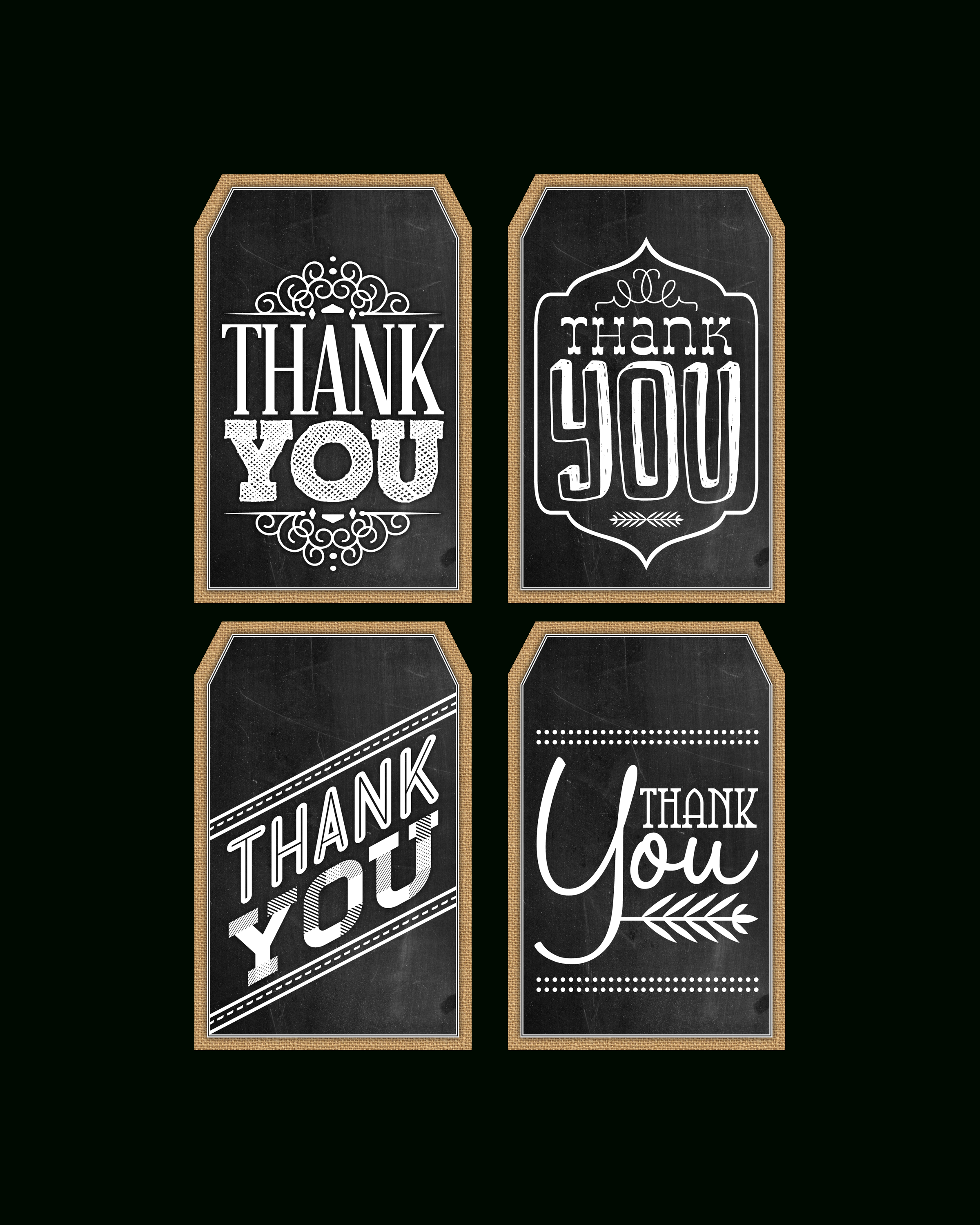 Free Printable Chalkboard Thank You Tags | Thank You's | Pinterest - Free Printable Thank You Tags