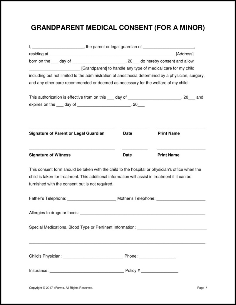 Free Printable Child Medical Consent Form For Grandparents - Form - Free Printable Child Guardianship Forms