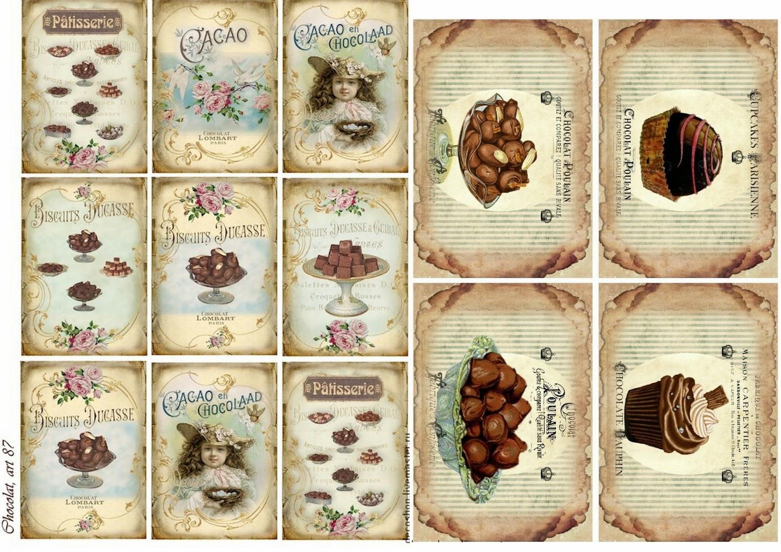 Free Printable Chocolate Vintage Labels.   Oh My Fiesta! In English - Free Printable Vintage Labels