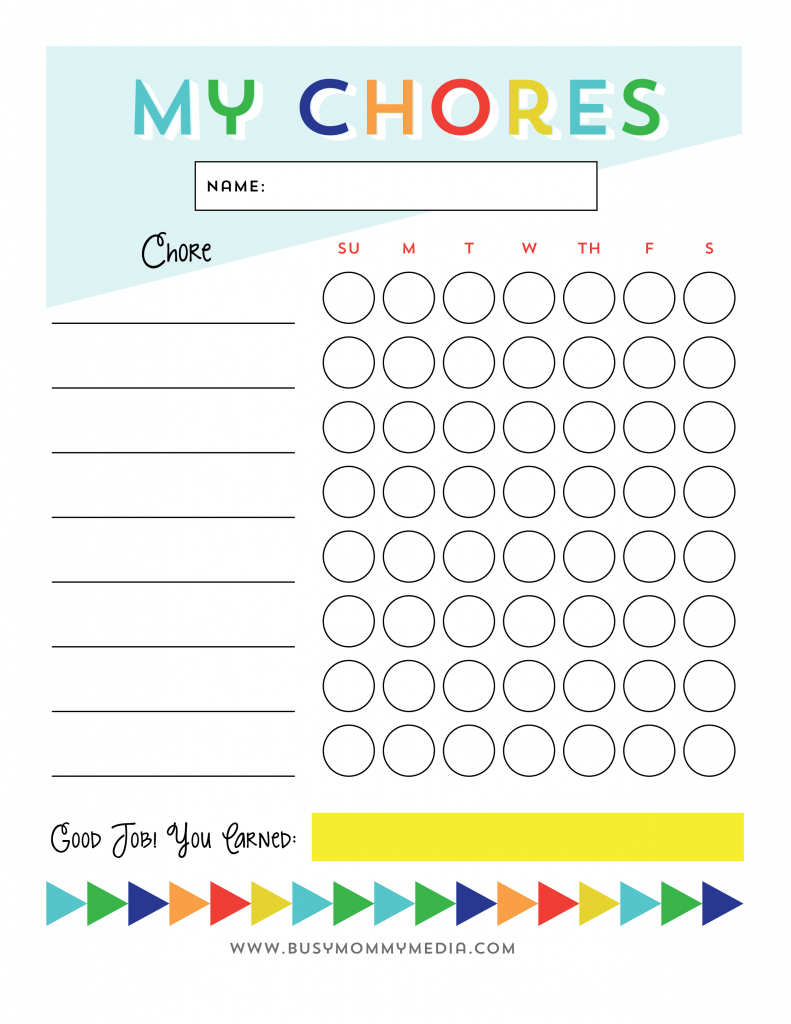 Free Printable - Chore Chart For Kids | Ogt Blogger Friends - Free Printable Chore Charts For Kids With Pictures