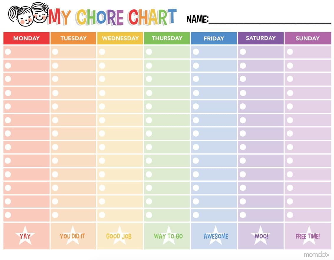 Free Printable Chore Chart - - Free Printable Chore List For Teenager