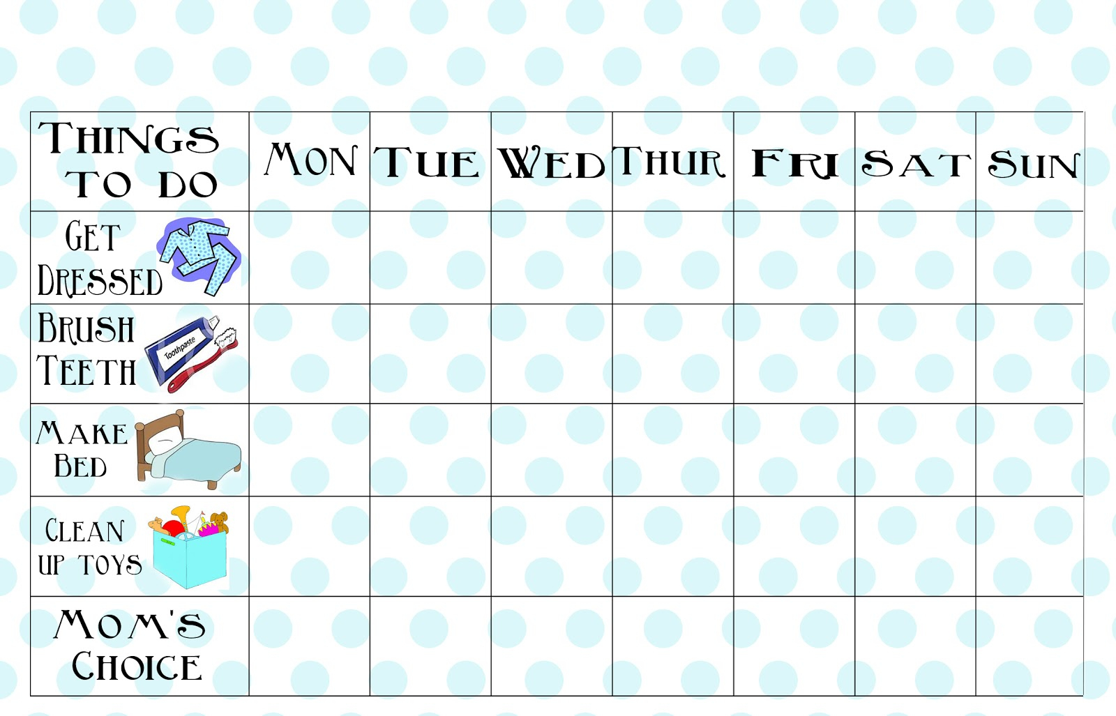 Free Printable Chore Chart - Free Printable Pictures For Chore Charts