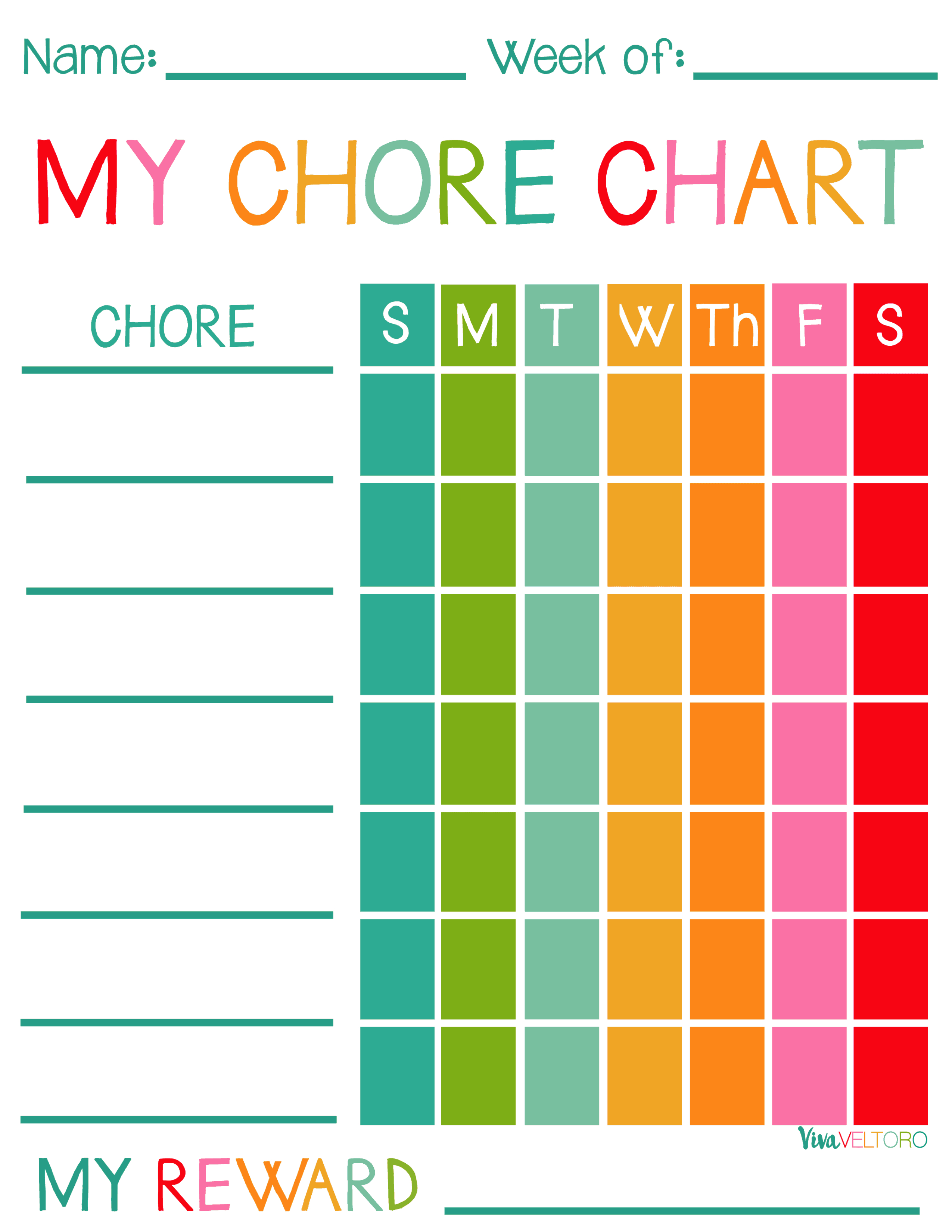 Free Printable Chore Charts For Kids! - Viva Veltoro - Free Printable Chore Charts For Kids With Pictures