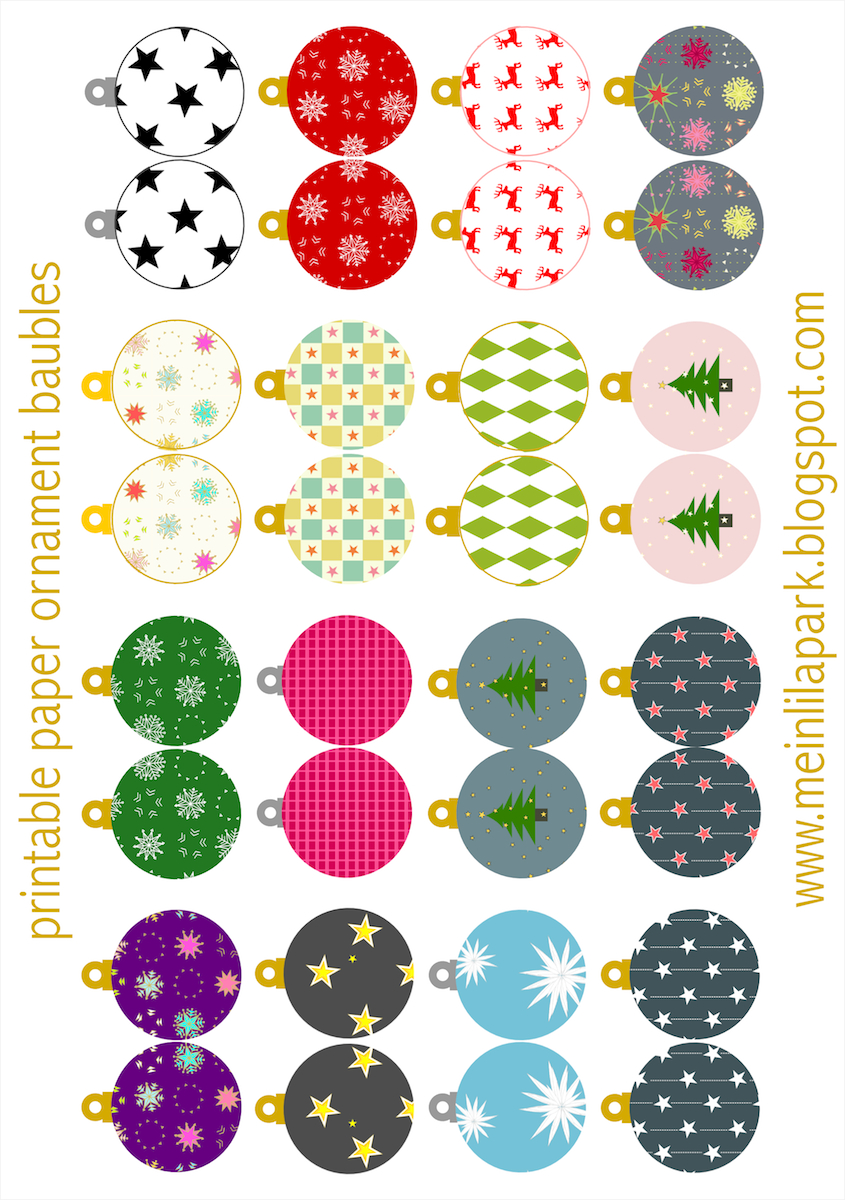 Free Printable Christmas Ornaments: Baubles - Ausdruckbarer - Free Printable Christmas Ornaments