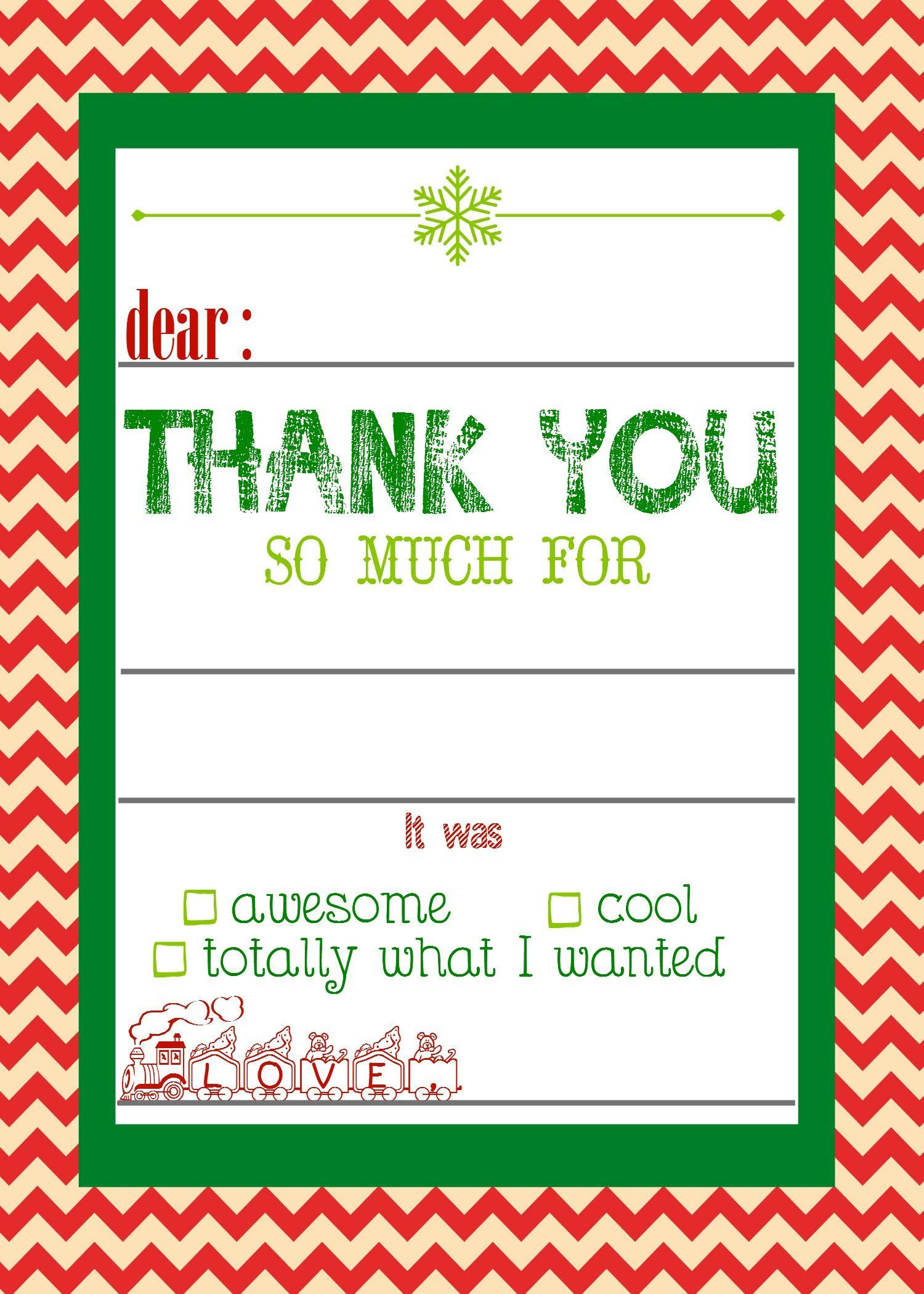 Free, Printable Christmas Thank You Cards For Kids | Christmas - Christmas Thank You Cards Printable Free
