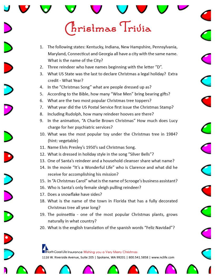 Free Printable Christmas Trivia Questions | Party Ideas | Pinterest - Holiday Office Party Games Free Printable