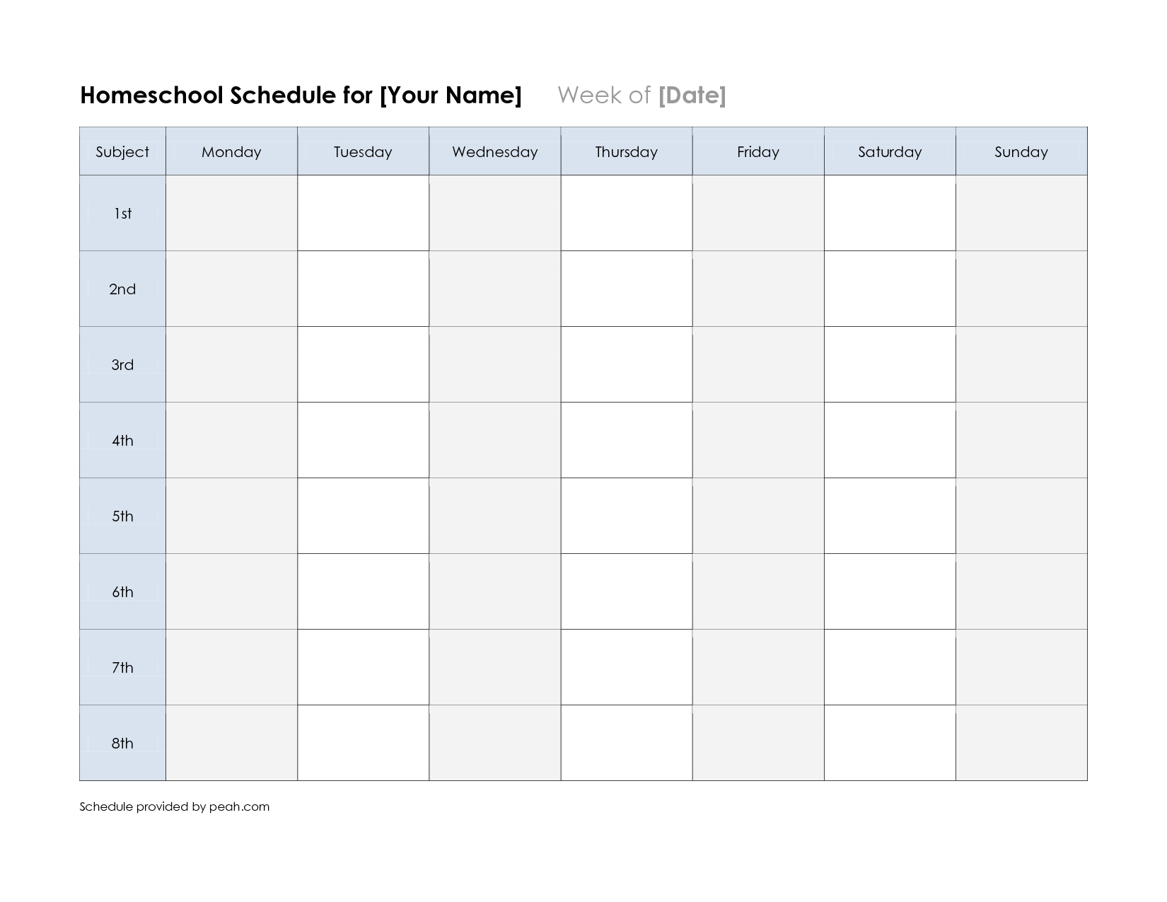Free Printable Class Schedule Template   Printable Weekly Nfl - Free Printable School Agenda Templates