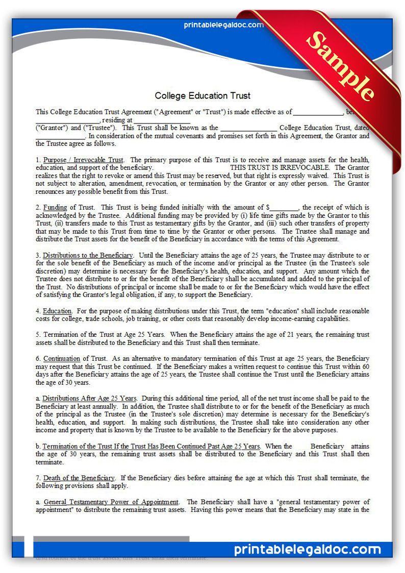 Free Printable College Education Trust   Sample Printable Legal - Free Printable College Degrees