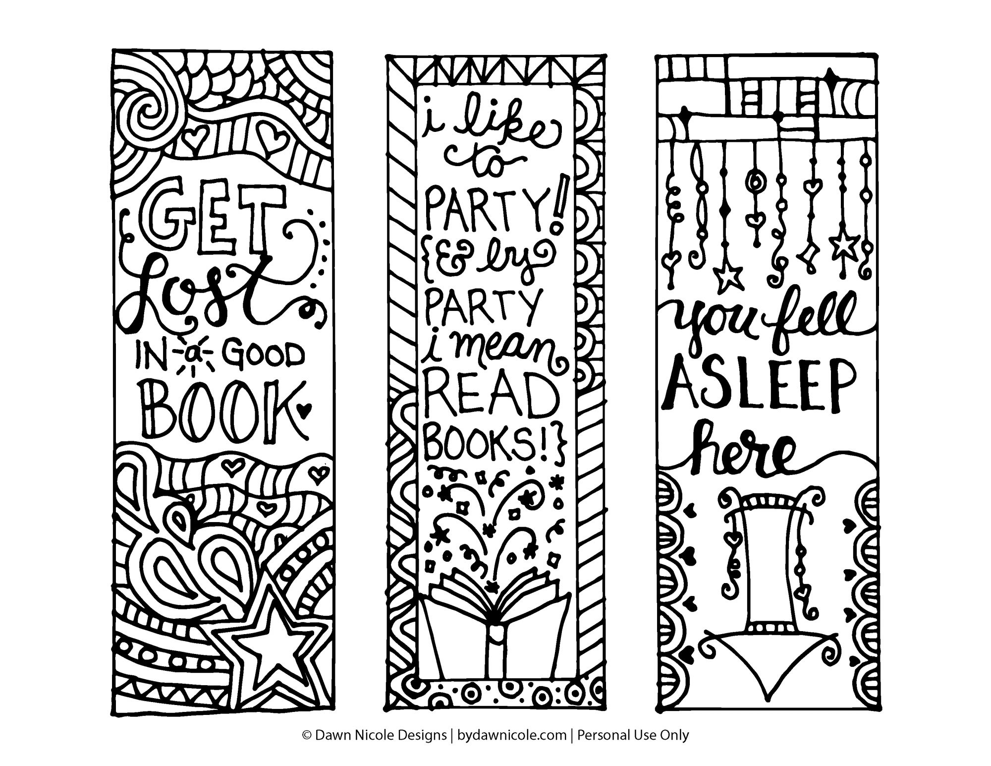 Free Printable Coloring Page Bookmarks | Dawn Nicole Designs® - Free Printable Bookmarks
