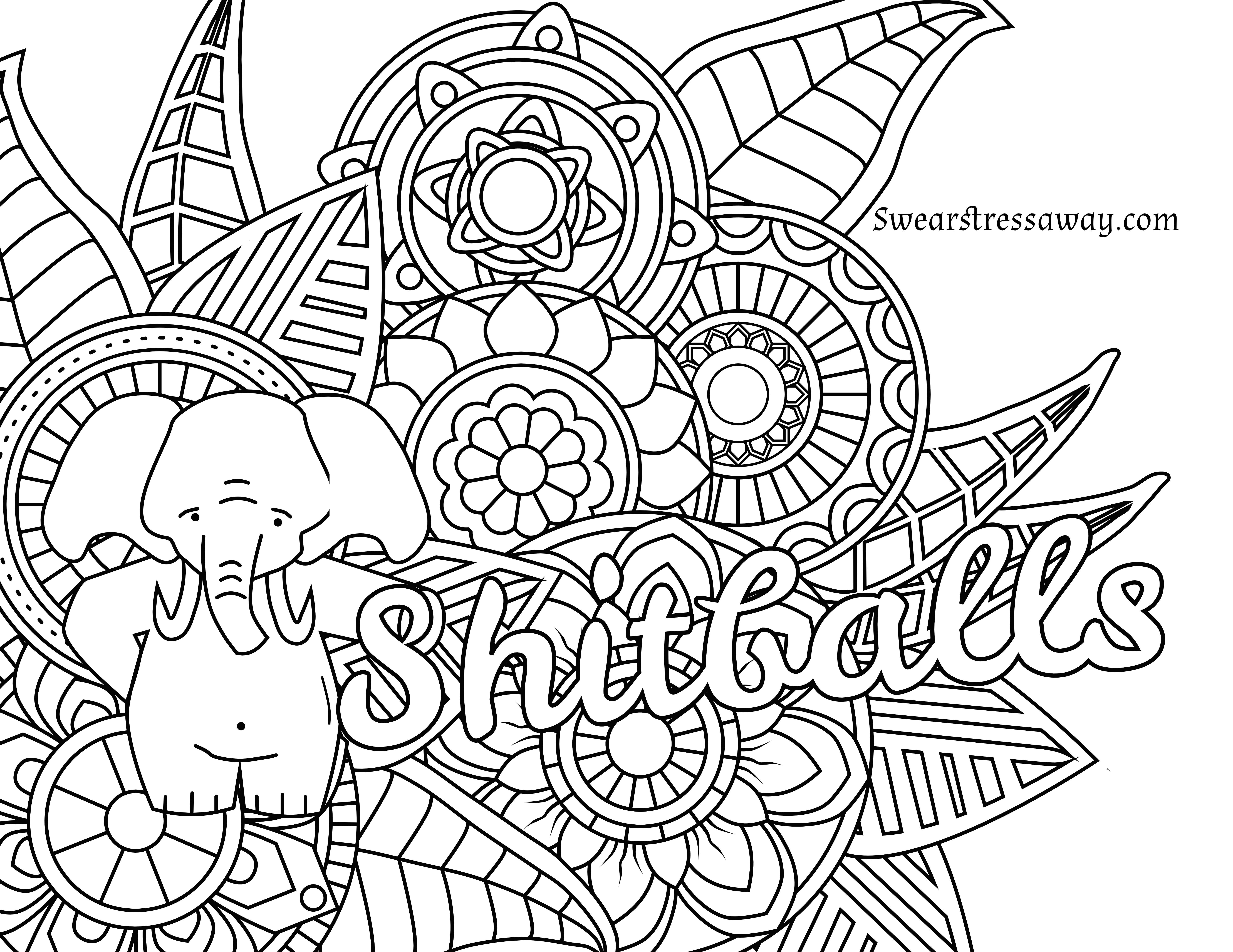 Free Printable Coloring Page - Shitballs - Swear Word Coloring Page - Free Printable Coloring Pages For Adults Swear Words