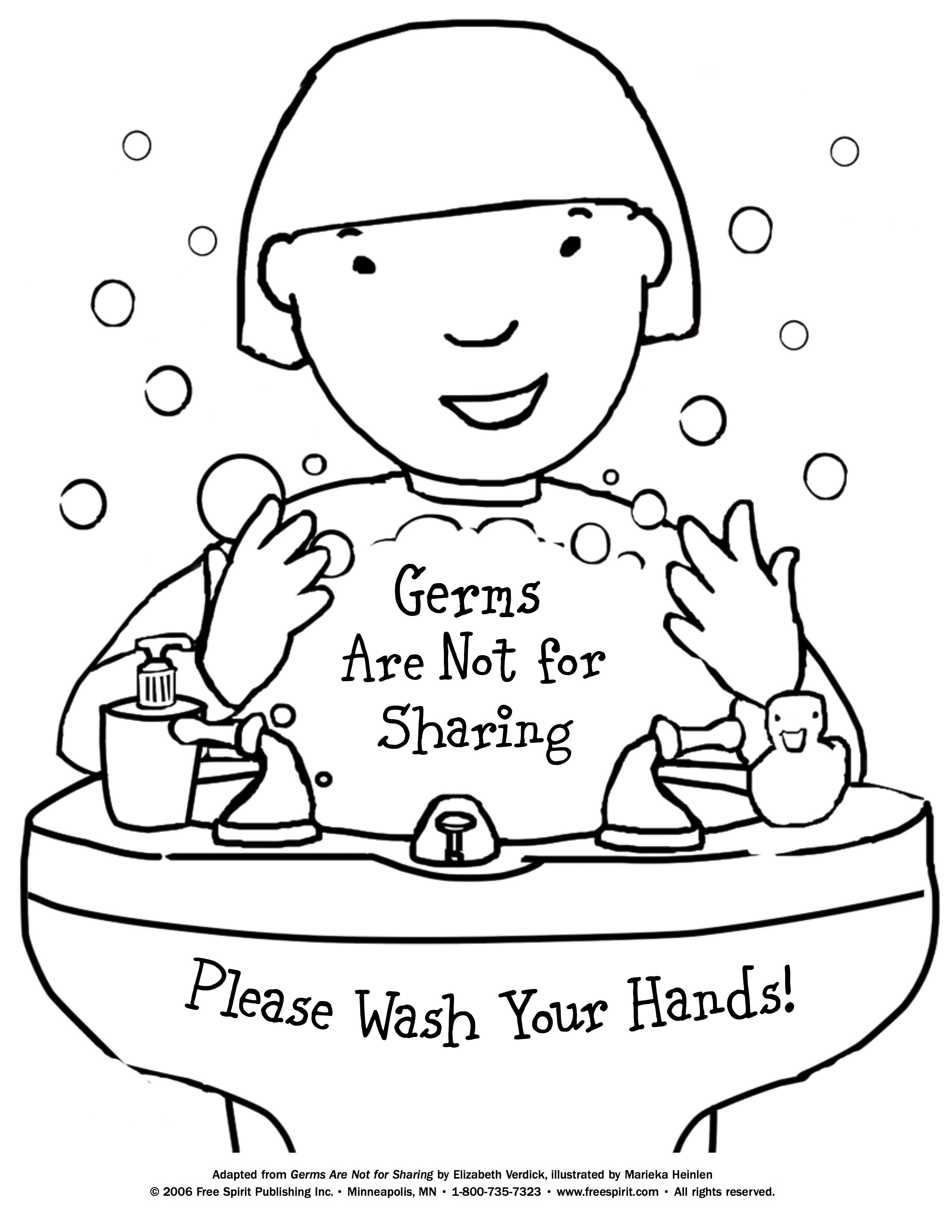 Free Printable Coloring Page To Teach Kids About Hygiene: Germs Are - Free Printable Good Touch Bad Touch Coloring Book