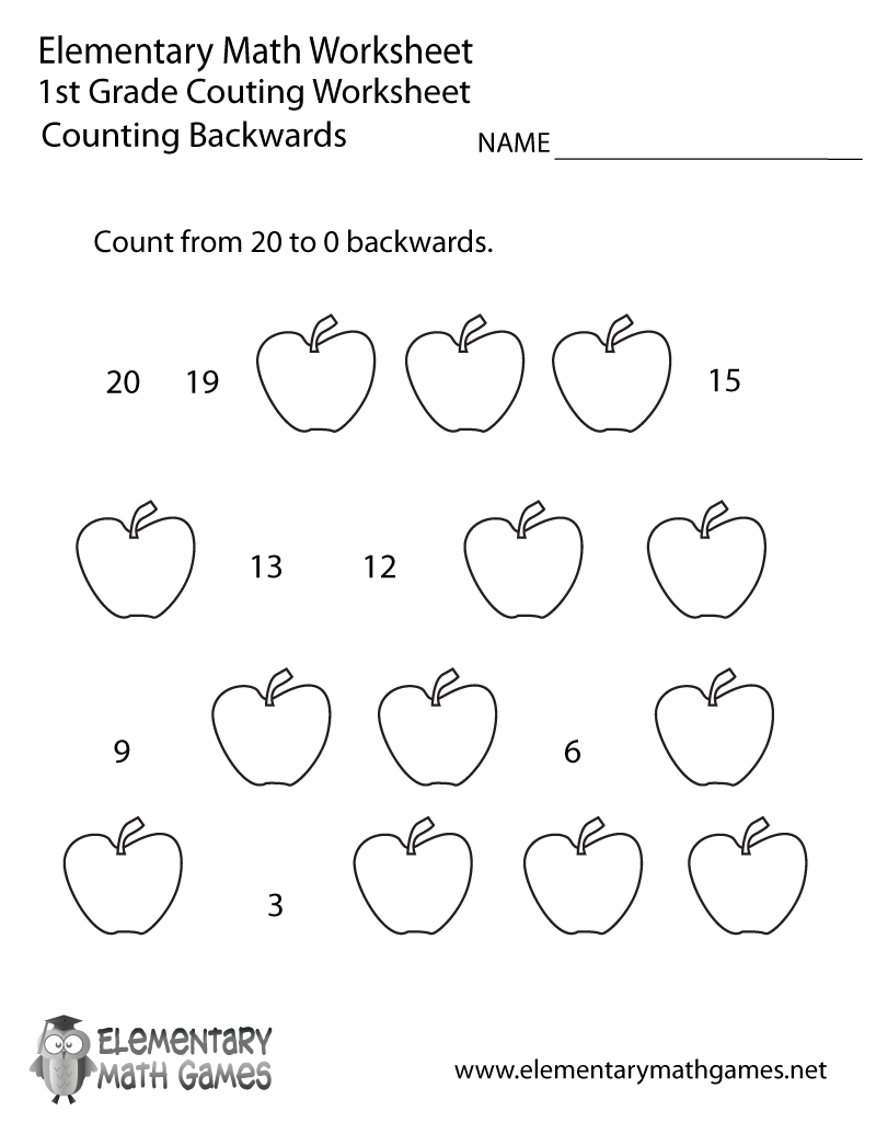 Free Printable Counting Backwards Worksheet For First Grade - Free Printable Worksheets For 1St Grade