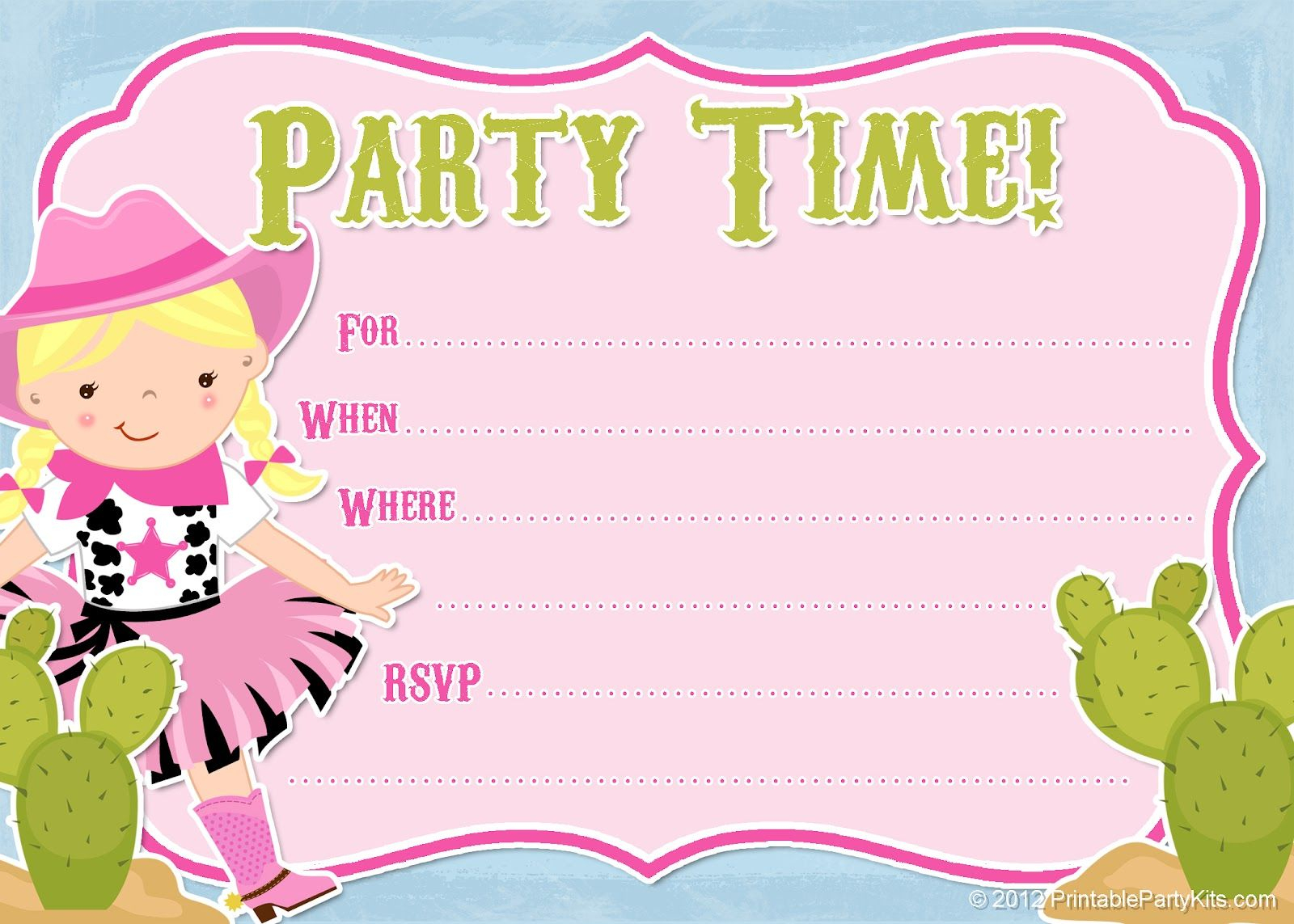 Free Printable Cowgirl #party Invitation From - Free Printable Cow Birthday Invitations