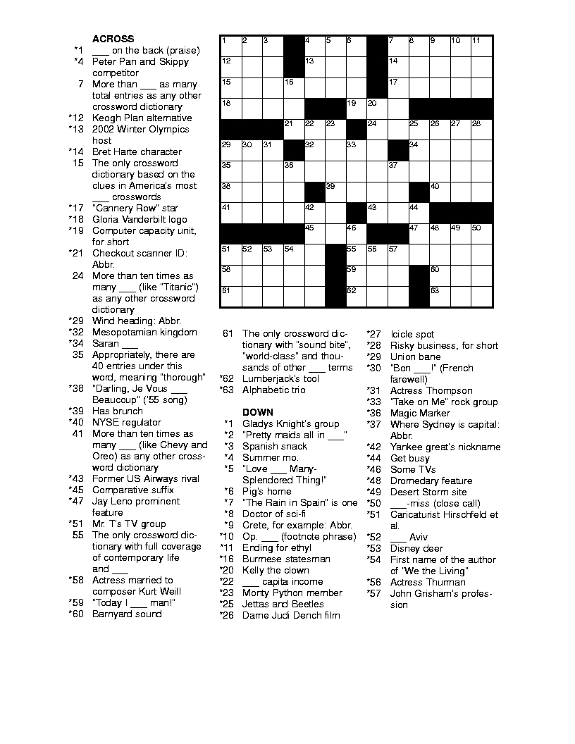 Free Printable Crossword Puzzles For Adults   Puzzles-Word Searches - Free Printable Crosswords Medium