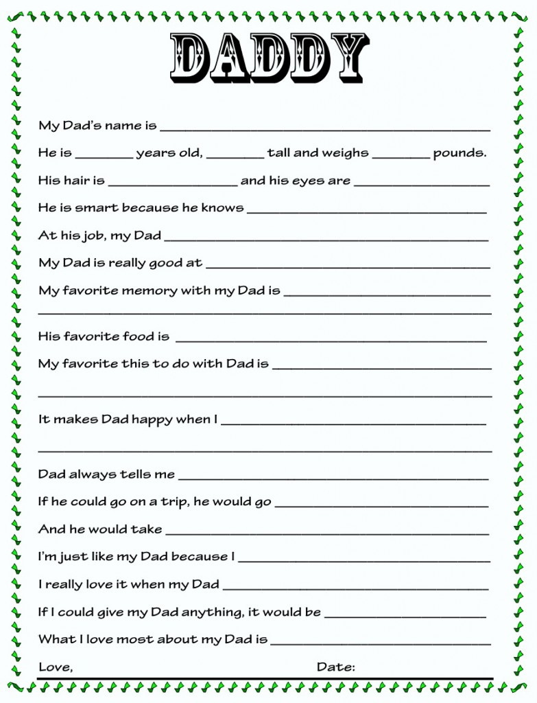 Free Printable Dad Questionnaire | Free Printable - Free Printable Dad Questionnaire