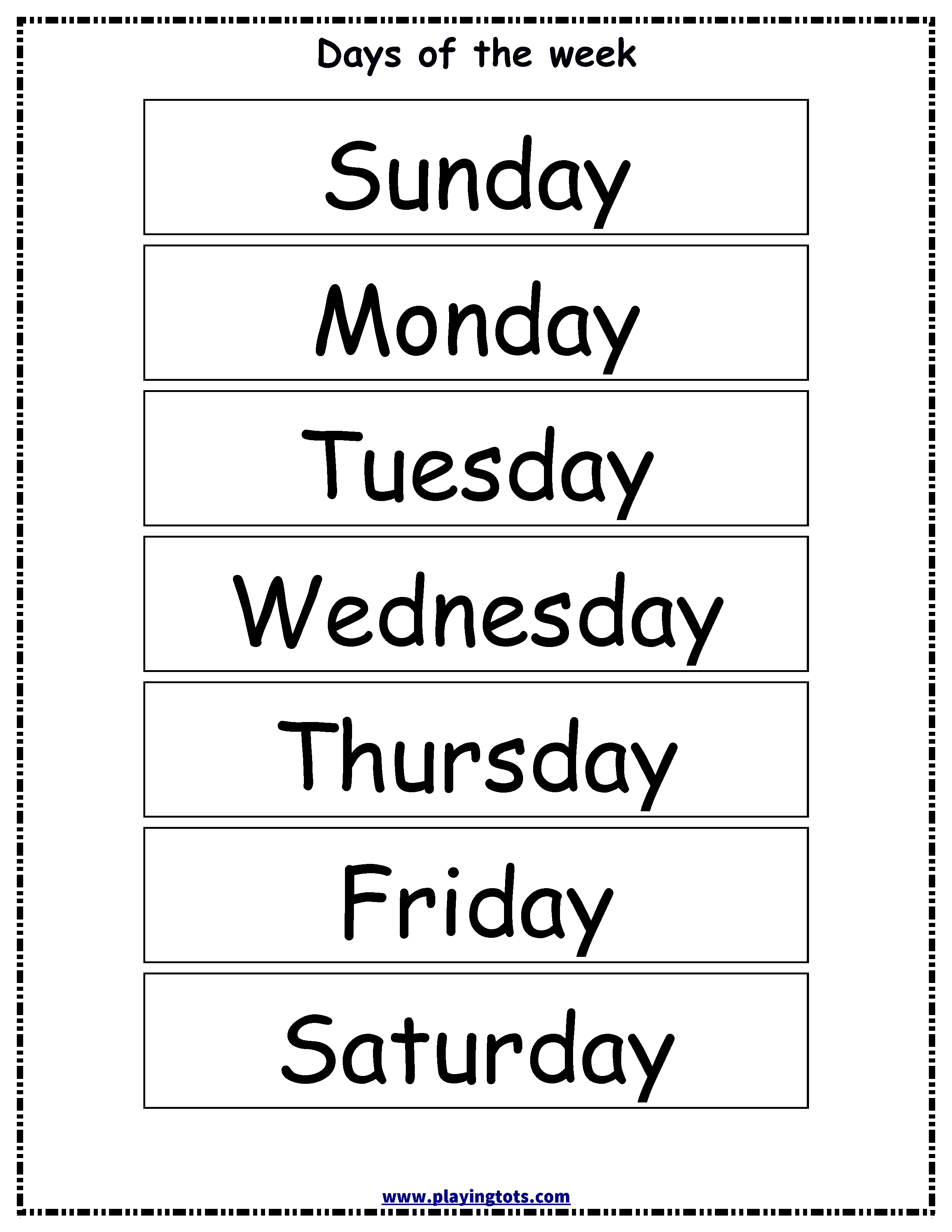 Free Printable Days Of The Week Chart   Classroom Ideas   Flashcards - Free Printable Days Of The Week